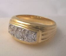 G-Filled Men's 18ct yellow gold simulated diamond ring tripple stone Gents bling