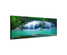 120x40cm Wandbild Leinwand Panorama Erawan Kanjanaburi Wasserfall Sinus Art