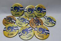 (10) Lot Vintage Los Angeles Rams Button Pin Back Football NFL 1970s Memorabilia