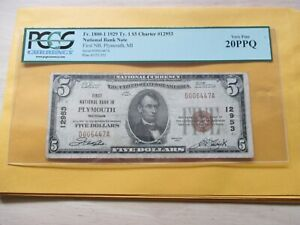 1929 $5 FIRST NATIONAL BANK OF PLYMOUTH,MICHIGAN PCGS VF20PPQ TOUGH NOTE