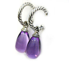 DAVID YURMAN New Sterling Silver Hoop with Amethyst Bead Earrings
