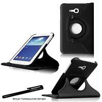 Housse Etui Noir pour Samsung Galaxy Tab 3 Lite T110 Coque Support Rotatif 360°