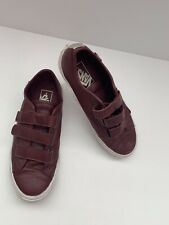 VANS Leather Burgundy with Silver stripe Velcro Sneakers US:M6 US:W7.5