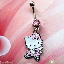 Piercing Nombril Hello Kitty Dance Bijoux Argenté Cristal Rose AC 50