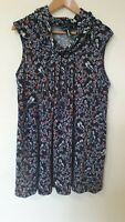 Izabel London Bird Floral Cowl Neck Tunic Top Size 10