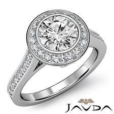 1.47ct Round Halo Pave Bezel Set Diamond Engagement Ring GIA F VVS2 Platinum