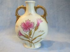 Antique Victoria Carlsbad Austria Pillow Vase with Pink Flowers and Handles