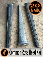 "(20) 4"" - COMMON ROSE HEAD NAIL  - Antique Vintage Rustic Nails - 20d"