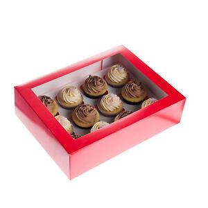 Cupcake Tragebox, rot, für 12 Cupcakes