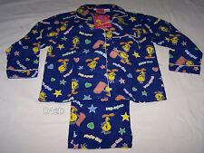 Looney Tunes Tweety Girls Dark Blue Printed Flannel Pyjama Set Size 6 New