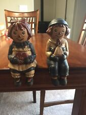 Vintage Raggedy Ann And Andy Ceramic Shelf Sitters / Book Ends