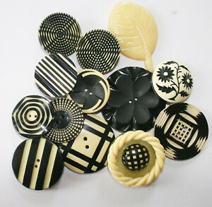 Vintage Buffed Celluloid Plastic Realistic Black & Cream Buttons