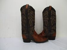 LARRY MAHAN Brown Snake Leather Cowboy Boots Mens Size 8.5 D Style LMM8542 USA