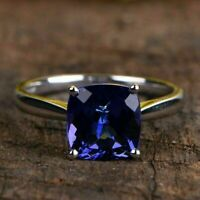 2.05 Ct Cushion Cut Blue Sapphire Solitaire Engagement Ring 14K White Gold Over