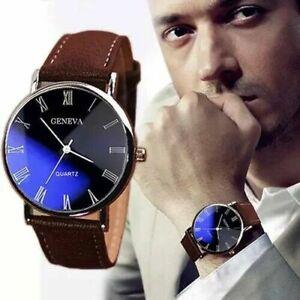 Mens Leather Wrist Watch Watches Analogue Quartz Fashion UK Stock
