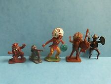 Vintage Crescent & Lone Star X5 Cowboys & Indians Toy Soldiers Rare 50s/60s