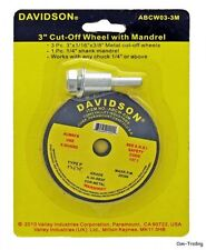 "Davidson 3"" Metal Cutting Cut-Off Discs Wheels 3-Pack & 1/4"" Mandrel Grind Welds"