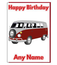 Personalised Classic Campervan Birthday Card - Dad Brother Husband Son Boys