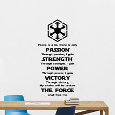 Star Wars Wall Decal Sith Code Quote Vinyl Sticker Movie Art Poster Decor 146crt
