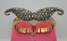 "Betsey Johnson ""Mysterious"" Mustache Two-Finger Stretch Ring Size 7.5 NWT"