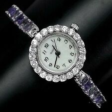 Sterling Silver 925 Stunning Blue Violet Iolite & Cubic Zirconia Watch 7 Inches
