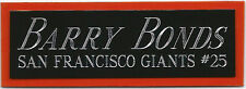 BARRY BONDS GIANTS NAMEPLATE FOR AUTOGRAPHED Signed Baseball Display CUBE CASE
