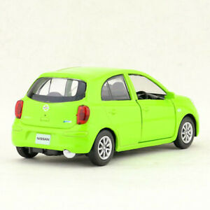 1:36 Scale Nissan March Model Car Diecast Toy Vehicle Gift Kids Pull Back Green