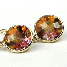 Twilight Fire Topaz, 14k Gold Leverback Earrings, E211