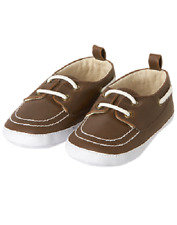 Gymboree Boats & Blooms Brown Boat Shoes Crib Shoe Infant Baby Boy Size 3 NEW