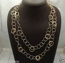 """Textured Polished  Multi Circle Chain Necklace Real 14K Yellow Gold 20"""" thru 40"""""""