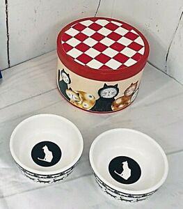 "Set of 2 Petco Cat Walk Black White Bowl Dish Ceramic 5"" & Storage Box Cats 912"