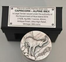 Capricorn-Alpine Ibex 2014 Niue .999 Silver Antique Finish, Ultra High Relief