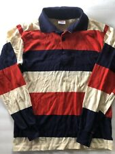 Vintage Mens Pro Action By Campus Striped Long Sleeve Polo Shirt