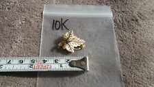 "Tone Leaf 10K 1.9g Over 1"" X 7/8"" Black Hills Gold Brooch Scarf Pin Grapes & 2"