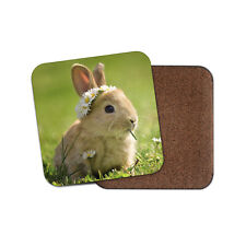 Cute Baby Bunny Coaster - Rabbit Daisy Flower Animal Bunnies Pets Gift #15575