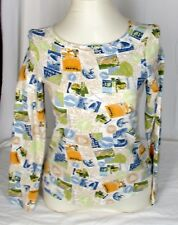 Womens XS Cotton Knit Top Travel Stamps Christopher + Banks EUC Size 4 6 Soft
