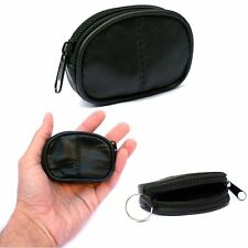 Mens Ladies Small Soft Genuine REAL Leather Zip Coin Purse   Key Holder Case