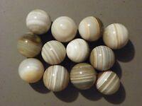 Marbles Bullseye Banded Agate Natural Gemstones 12 of 1 1/4 to 1 3/8 Vintage