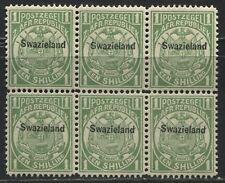 Swaziland overprinted 1889 1/ block of 6 unmounted mint NH