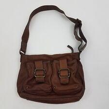 Banana Republic Leather Purse Ashbury Handbag Buckle pocket Brown Hobo Crossbody
