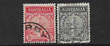 AUSTRALIA- 1935- ANZAC PAIR - USED- SG 154/155- CAT £45