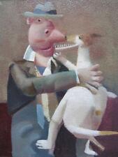 David Eustace RBA (1950 -) britannique contemporain signé Oil painting man & Dog