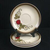 Set of 4 VTG Saucer Plates by Metlox Poppytrail Vernon California Strawberry USA