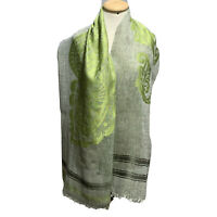 ETRO PAISLEY GREEN GRAY LONG LINEN SILK Scarf 76/14 Inches MADE IN ITALY