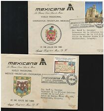 276 FFC Covers MEXICANA Airlines 1980 Chihuahua - Mazatlan - Mexico & Mx-Maz-Chi