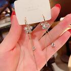 Fashion 925 Silver Flower Tassel Crystal Earrings Hoop Drop Dangle Women Jewelry