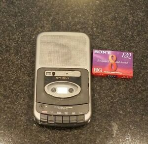 Optimus CTR-109 Portable AC DC Cassette Recorder Player w/Cord & 1 Blank Tapes