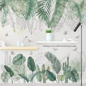 Wall Decals Beautiful Nice Green Tropical Leaves Fresh Home Decor DIY Removable