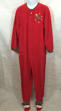 Nick and Nora Sock Monkey One Piece Footed Footie Red Pajamas PJs Size XXL 2XL