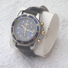 Sector SGE 300 Chronograph Stahl gelbgold blau Leder-Armband